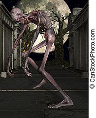 Zombie - Halloween Figure - 3 D Render of an Zombie -...