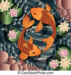 Carp Koi fish swimming in a pond with water lilies, vector illustration