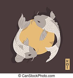 Two carp koi fish swimming around Sun, traditional Japanese style