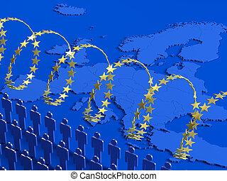 European refugee crisis - Stylized illustration of the...