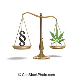 Scales with paragraph symbol and marijuana - A marijuana...