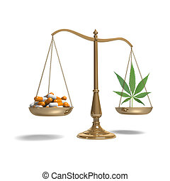 Scales with pills and marijuana - Pills and a marijuana leaf...