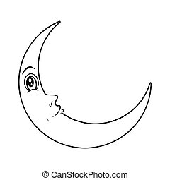 cartoon crescent moon with eyes silhouette vector symbol...