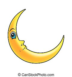 cartoon crescent moon with eyes vector symbol icon design....