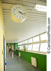 hospital corridor with watch, focus on foreground