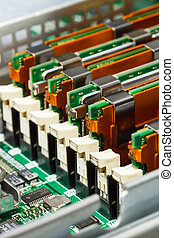 memory module in system board, closeup - server maintenance,...