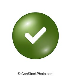 Tick sign element. Green checkmark icon isolated on white...