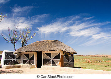 african hut - traditional african hut of the ndebele tribe...