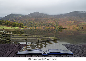 Beautiful Autumn Fall landscape image of Crummock Water at sunrise in Lake District England coming out of pages of book