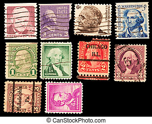 american presidents - vintage postage stamps with american...