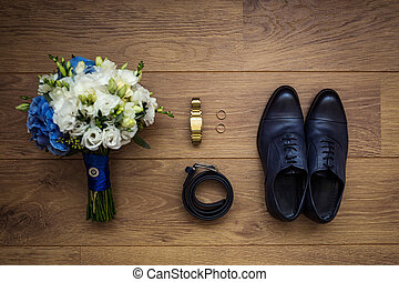 clock, belt, wedding bouquet and shoes