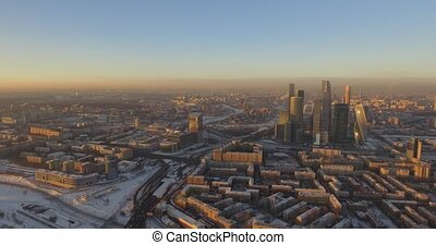 Business center Moscow City, aerial winter - aerial...