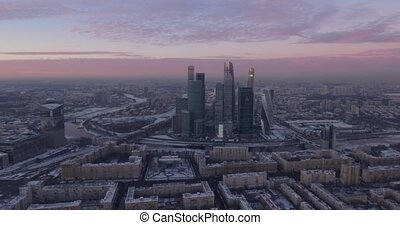 Business center Moscow City, aerial winter