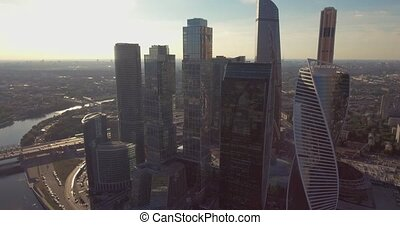 Business center Moscow City, aerial photography on the drone.