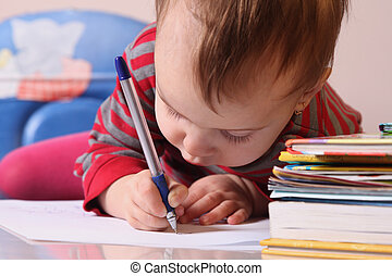 persistent training (baby girl learns to write, development,...