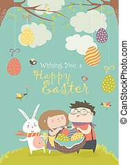 Happy children holding a basket of Easter eggs. Vector...