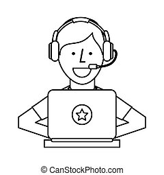 person working in laptop call center vector illustration...
