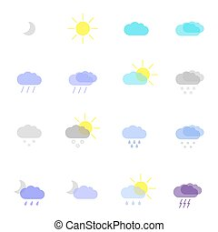 weather icons - set with weather icons in different color