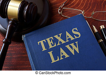 Book with title Texas law and a gavel.