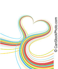 heart shape - Vector illustrator of shiny lines crossing...