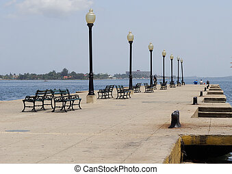 Cienfuegos pier or jetty - The harbour of Cienfuegos for...