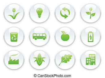 ecology icon set - Vector illustration of green ecology icon...