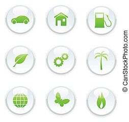 green ecology icon set - Vector illustration of green...