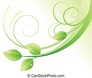 green abstract background - Vector illustration of green...