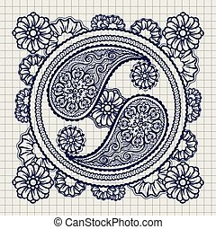 Ornate yin-yang sign on notebook background