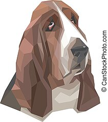 Portrait of basset-hound in a geometric style