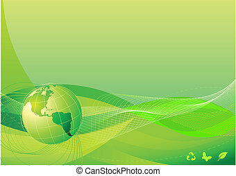 abstract background - Vector illustration of green abstract...