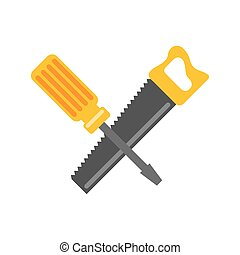 handsaw and screwdriver tools isolated icon vector...