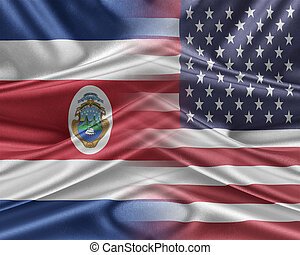 USA and Costa Rica. Relations between two countries. 3D...
