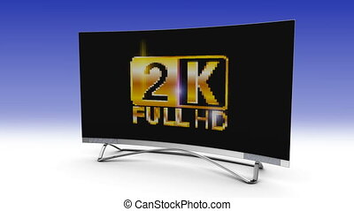 4k screen TV - 2k screen TV crumbles and becomes 4k. 3d...