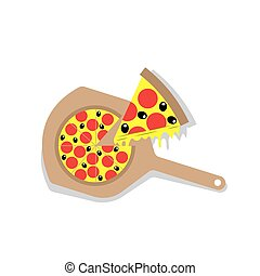Pizza with Wooden Paddle - Pizza with wooden paddle and...