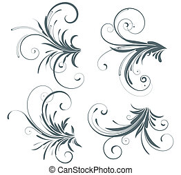 floral elements - Vector illustration set of four swirling...