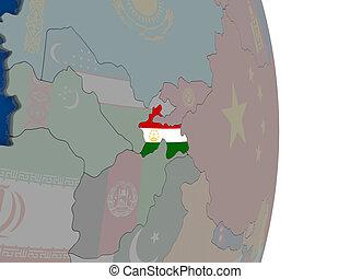 Tajikistan with its flag - Map of Tajikistan with its flag...