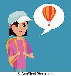 young girl rucksack travel airballoon vector illustration