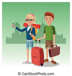 boy and girl suitcase rucksack smartphone glasses traveler urban background