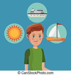 young boy tourist traveler vacation icons design vector...