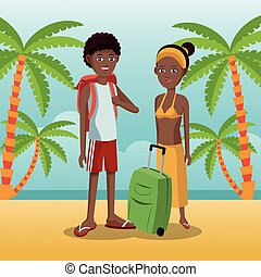 couple afro american with backpack baggage palm sand beach...