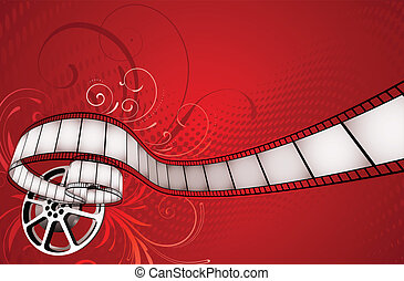 abstract background - Vector illustration of red floral...