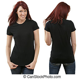 Redhead female with blank black shirt - Young beautiful...