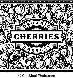 Retro Cherry Harvest Label Black And White
