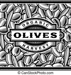 Retro Olive Harvest Label Black And White