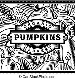 Retro Pumpkin Harvest Label Black And White