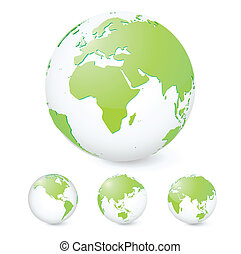 Green Earth - Vector illustration set of green globes...