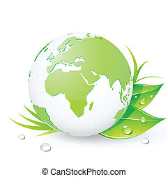 Green Earth - Vector illustration of Green Earth planet...
