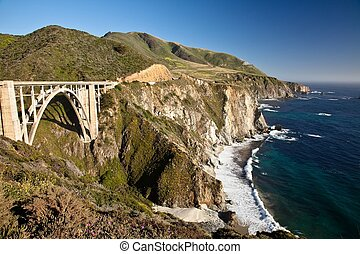 Bixby Creek Bridge is a reinforced concrete open-spandrel...