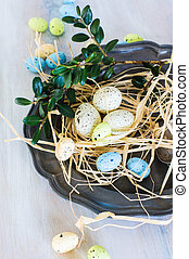 Easter festive concept - Table setting for Easter dinner...